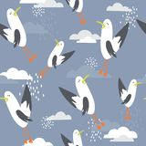 Colorful seamless pattern, birds and clouds. Decorative cute background with gulls vector illustration