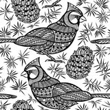 Seamless pattern with birds and cones. Black and white doodle ba Stock Images