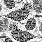 Seamless pattern with birds and cones. Black and white doodle. Monochrome  background with cats and birds cardinals Royalty Free Stock Photo