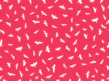 Seamless pattern with birds. Contours of white birds on a red background. Vector. Illustration Stock Photos