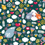 Seamless pattern with birds family. Stock Photos