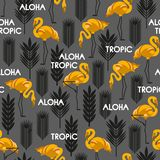 Seamless pattern with birds of flamingos and leaves of tropical plants. White, black, yellow, gray. Vector illustration Stock Photos