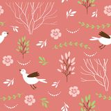 Seamless pattern with birds and floral elements Stock Photo