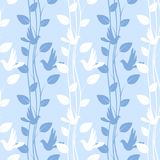 Seamless pattern with birds and floral elements Stock Photos