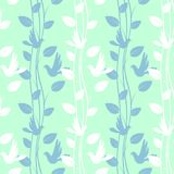 Seamless pattern with birds and floral elements Stock Photography