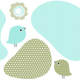 Seamless pattern with birds and flowers Stock Image