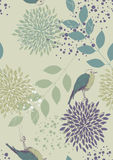 Seamless Pattern with Birds and Flowers Royalty Free Stock Image