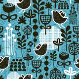 Seamless pattern with birds and flowers. Royalty Free Stock Photo