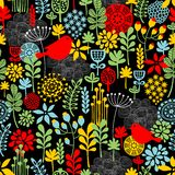 Seamless pattern with birds and flowers. Stock Image