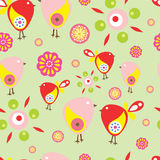 Seamless pattern with birds and flowers with black background Royalty Free Stock Photos