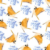 Seamless pattern with birds and flowers. Royalty Free Stock Image