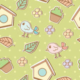 Seamless pattern of birds and flowers Royalty Free Stock Photo