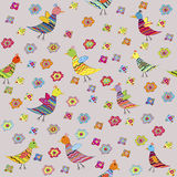 Seamless pattern with birds and flowers, for kids Stock Photography