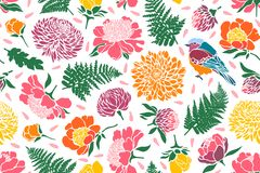 Seamless pattern with birds and flowers. Peony, chrysanthemum, clover, tulip, fern. Vector illustration Stock Photos