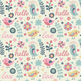 Seamless pattern with birds and flowers Royalty Free Stock Photo