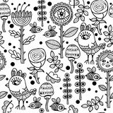 Seamless pattern with birds and flowers. Stock Photography