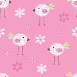 Seamless pattern with birds and flowers Stock Images