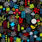 Seamless pattern with birds in the forest. Royalty Free Stock Photos