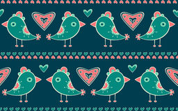 Seamless pattern with birds and hearts Stock Photos