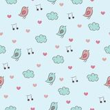 Seamless pattern with birds, hearts, clouds and no Stock Images