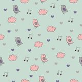 Seamless pattern with birds, hearts, clouds and no Royalty Free Stock Photo