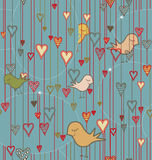 Seamless pattern with birds and hearts Royalty Free Stock Images