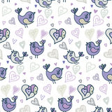 Seamless pattern with birds and hearts. Hand draw vector illustration in doodle style. Stock Photos