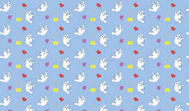 Seamless pattern with birds hearts and letters Royalty Free Stock Photography