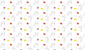 Seamless pattern with birds hearts and letters Royalty Free Stock Images