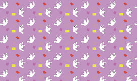 Seamless pattern with birds hearts and letters Royalty Free Stock Image