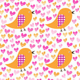Seamless pattern with birds and hearts. For textiles, interior design, for book design, website background Stock Image