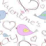 Seamless pattern with birds and hearts for Valentine`s day royalty free illustration