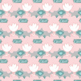 Seamless pattern with birds in heaven. Cute wallpapers in baby style Royalty Free Stock Photography