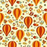 Seamless pattern with birds and hot air balloons. Royalty Free Stock Photos