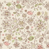 Seamless Pattern - Birds In Flowers Stock Photography