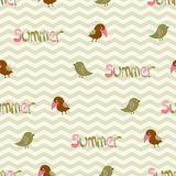 Seamless pattern with birds and the inscription su Royalty Free Stock Photos