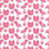 Seamless pattern with birds and kittens Stock Image