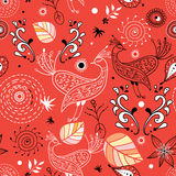 Seamless pattern of birds and leaves Stock Photos