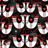 Seamless pattern with birds in love hearts Royalty Free Stock Images