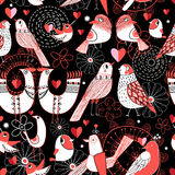 Seamless pattern with birds in love hearts Royalty Free Stock Photo