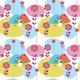 Seamless pattern with birds marvelous family Stock Images