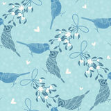 Seamless pattern with birds and mistletoe. Hand-drawn  bac Royalty Free Stock Images