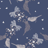 Seamless pattern with birds and mistletoe. Hand-drawn  bac Royalty Free Stock Image