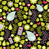 Seamless pattern with birds and mobile phones. Stock Image