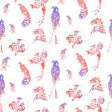 Seamless pattern birds of paradise, vector silhouettes. Stock Photo