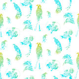 Seamless pattern birds of paradise, vector silhouettes. Royalty Free Stock Image