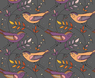 Seamless pattern with birds. Patterns can be used as background, fabric print, texture, wrapping paper, web page backdrop, wallpaper. Vector illustration Royalty Free Stock Photo