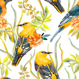 Seamless pattern of birds and plants. Bird pattern and camellia. Vector. Leaves. Stock Photo