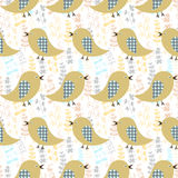 Seamless pattern with birds and plants Stock Images