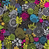 Seamless pattern with birds and pretty flowers. Stock Photo